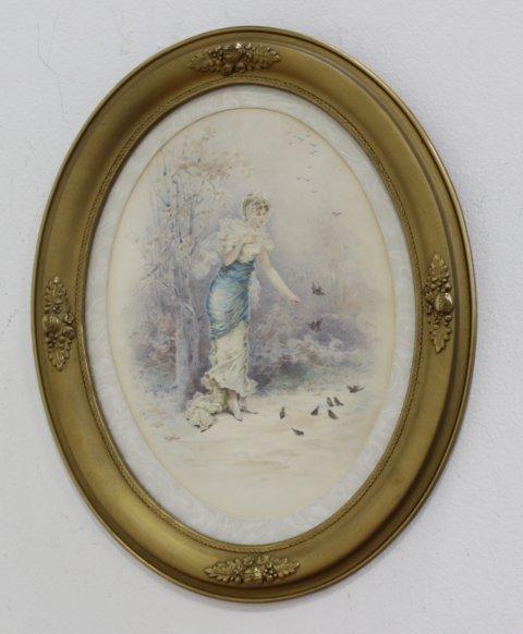 Lionel Peraux, Lady Feeding Birds