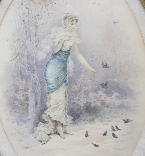 Lionel Peraux, Lady Feeding Birds - 2