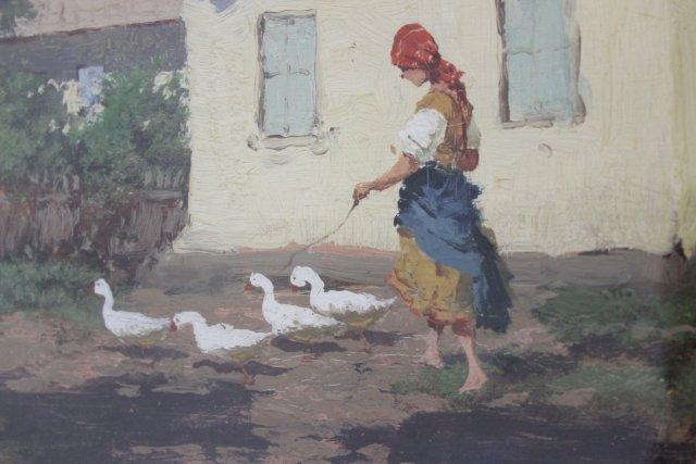 Woman Walking Geese