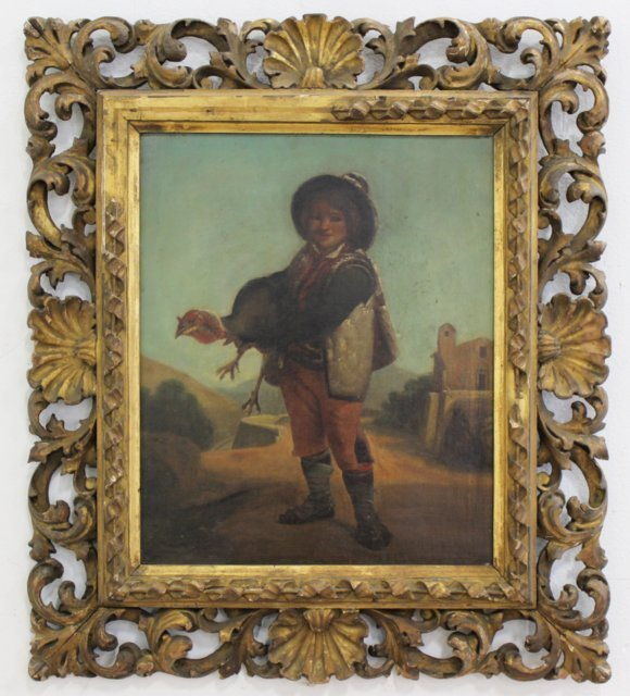 Gilt Framed Painting, Boy Holding Turkey