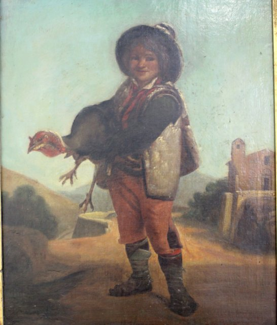 Gilt Framed Painting, Boy Holding Turkey - 2
