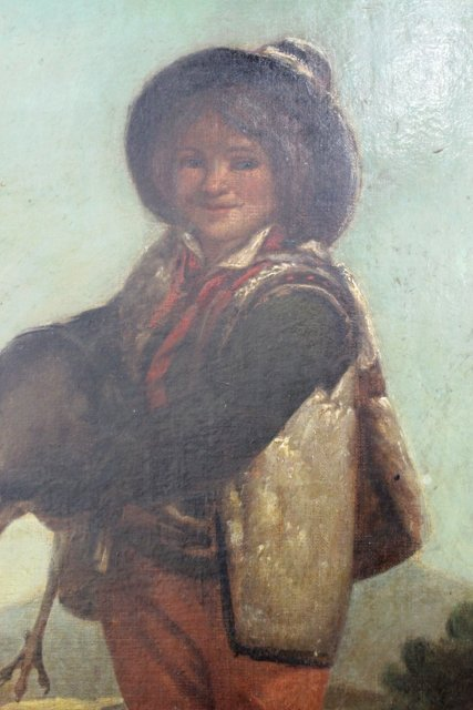 Gilt Framed Painting, Boy Holding Turkey - 3