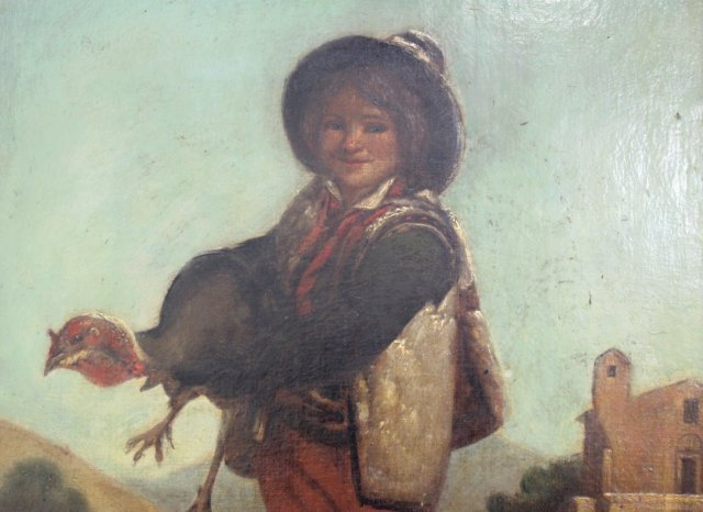 Gilt Framed Painting, Boy Holding Turkey - 4