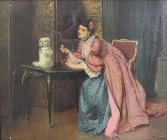 E.C. Barnes, Woman with Terrier