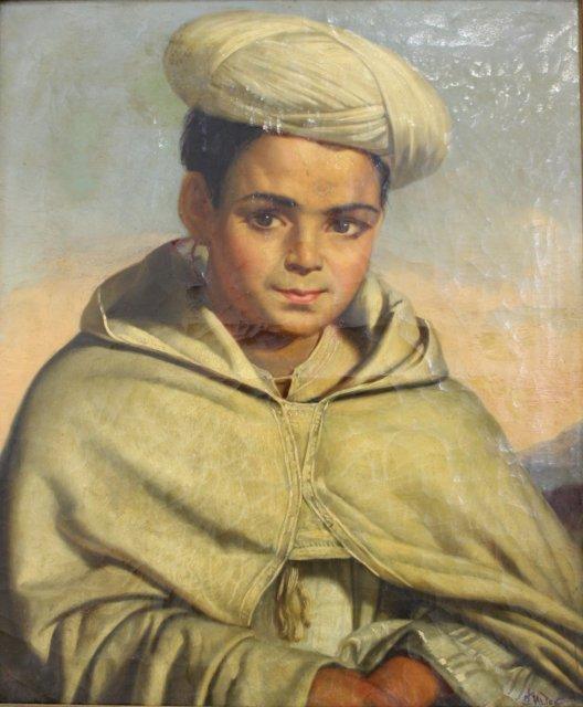 Gilt Framed Painting, Boy with Turban - 2