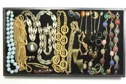 Tray Lot Vintage Costume Jewelry