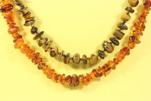 Amber Necklace & Tiger's Eye Necklace