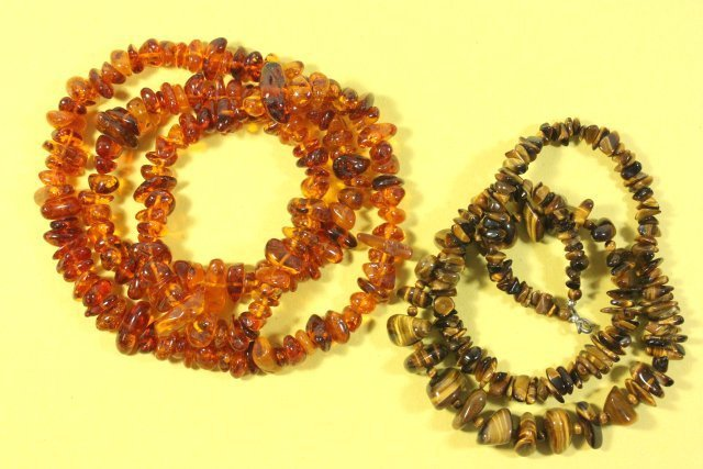 Amber Necklace & Tiger's Eye Necklace - 4