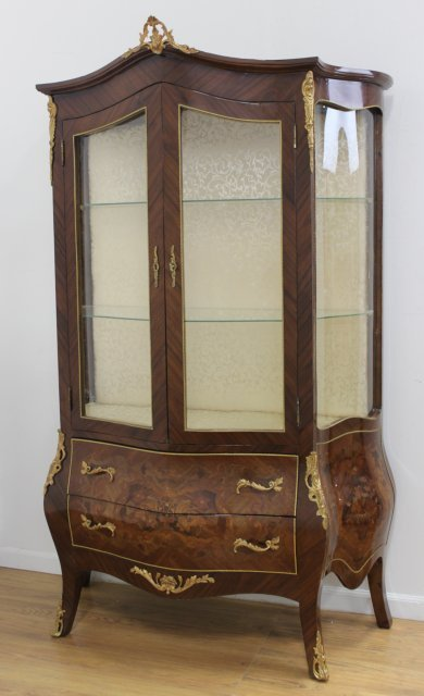 French Style Bronze Mounted 2-Door China Cabinet