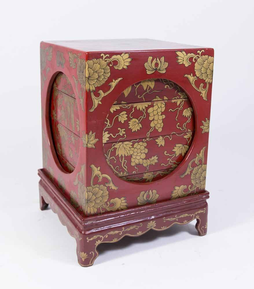 Chinese Red Lacquer Storage Rack