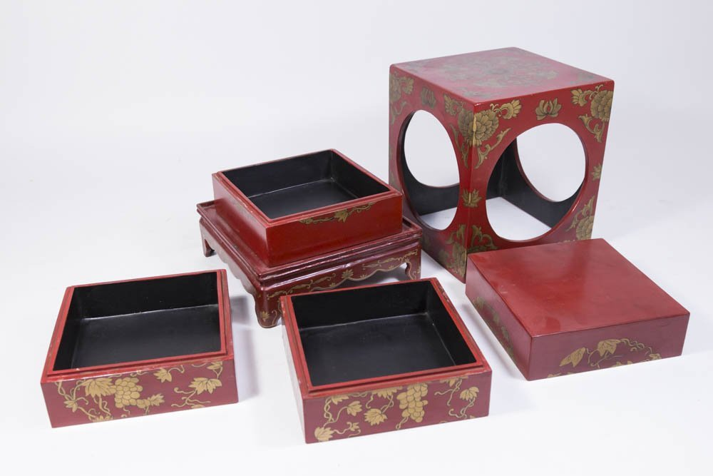 Chinese Red Lacquer Storage Rack - 3