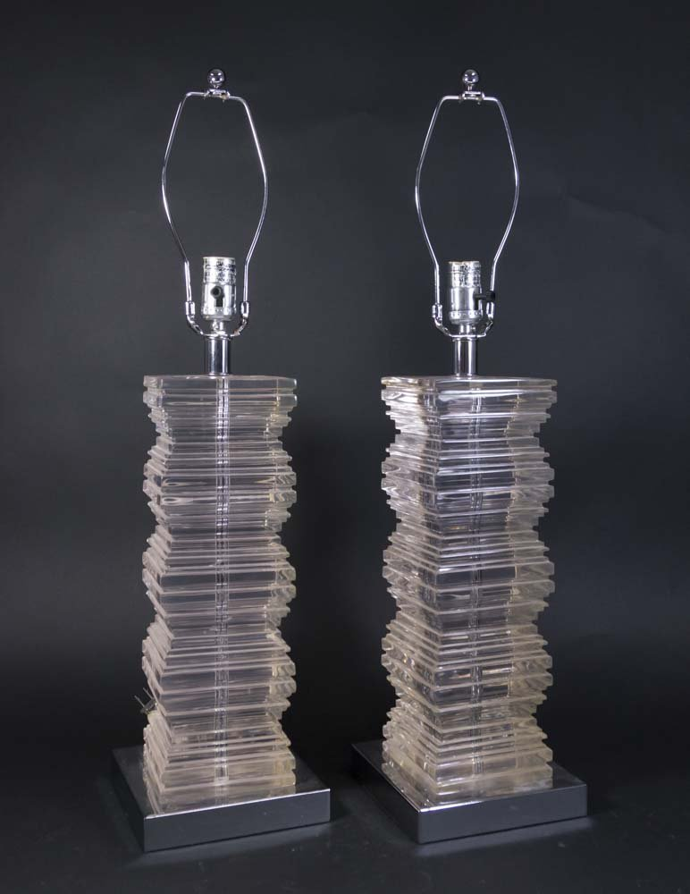 Pair Moderne Lucite Lamps with Chrome Bases