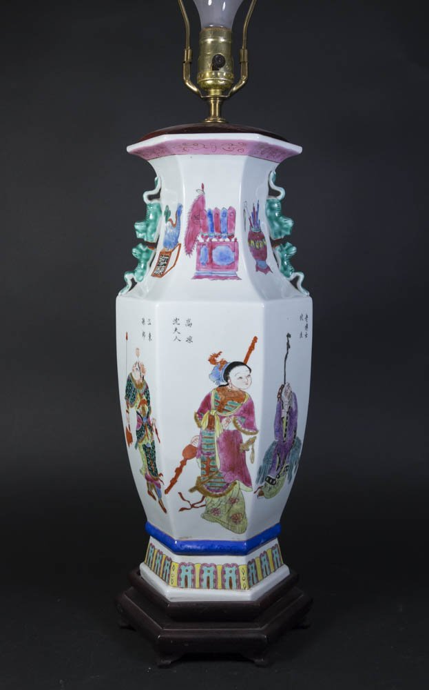Chinese Porcelain White Ground Hexagonal Lamp