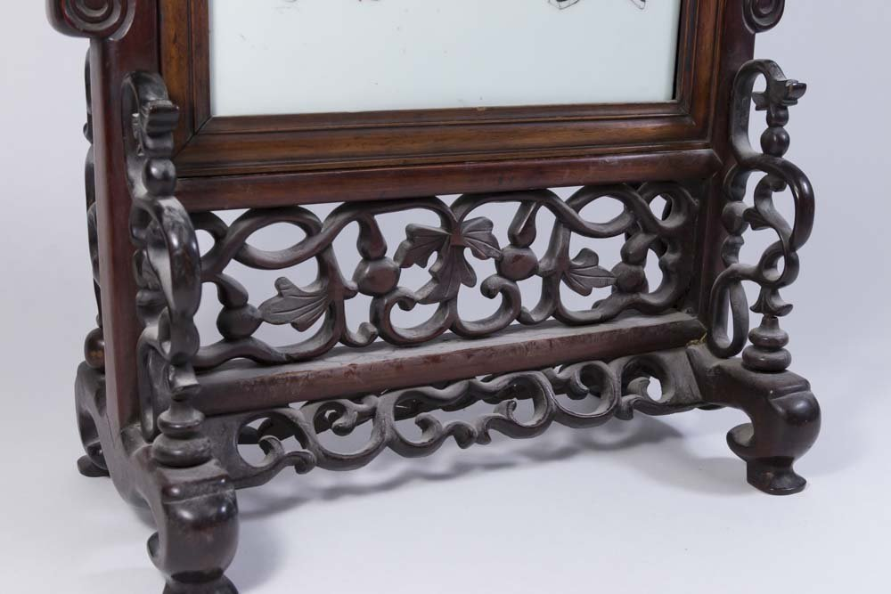 Chinese Porcelain & Hardwood Table Screen - 3