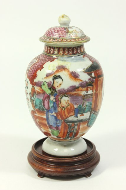 Small Cabinet-Size Chinese Covered Vase on Stand