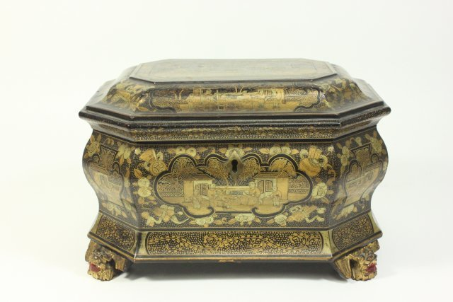 Antique Chinese Export Lacquer Tea Caddy