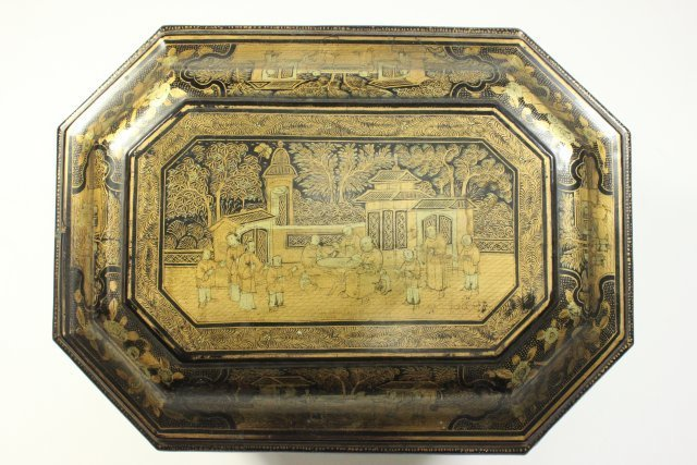 Antique Chinese Export Lacquer Tea Caddy - 5