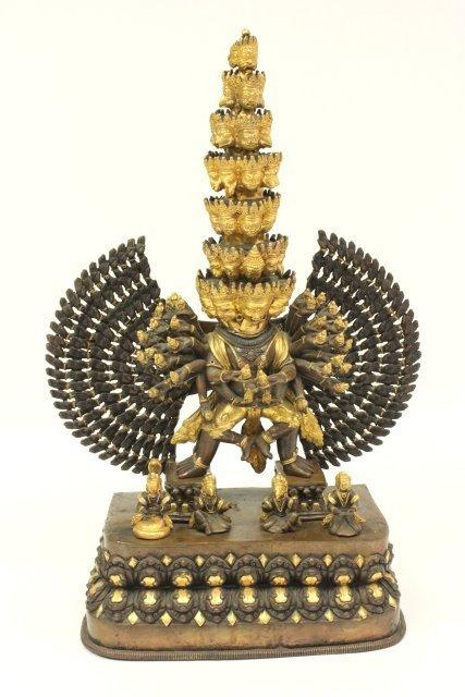 Gilt Bronze Tibetan Mahakala Buddha on Stand
