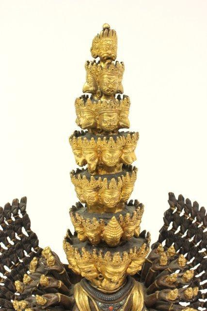 Gilt Bronze Tibetan Mahakala Buddha on Stand - 2