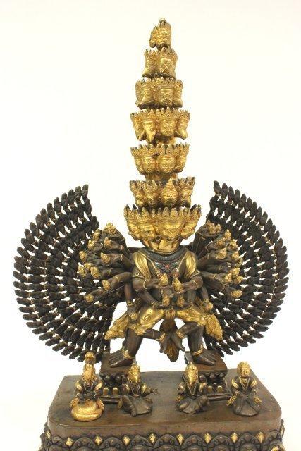 Gilt Bronze Tibetan Mahakala Buddha on Stand - 3