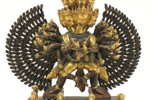 Gilt Bronze Tibetan Mahakala Buddha on Stand - 4