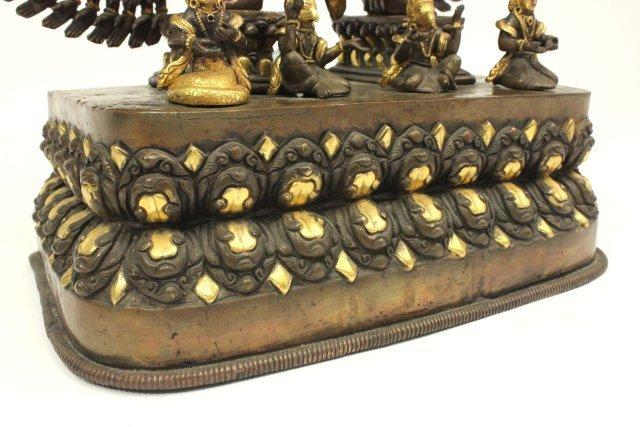 Gilt Bronze Tibetan Mahakala Buddha on Stand - 6