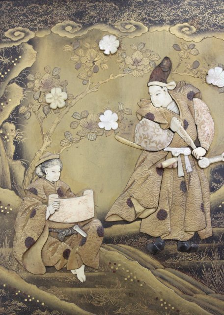 Japanese Jade & Stone Lacquered Panel - 2