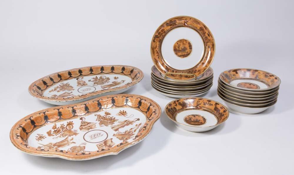 Chinese Export Gilt Iron Ground Porcelain Set