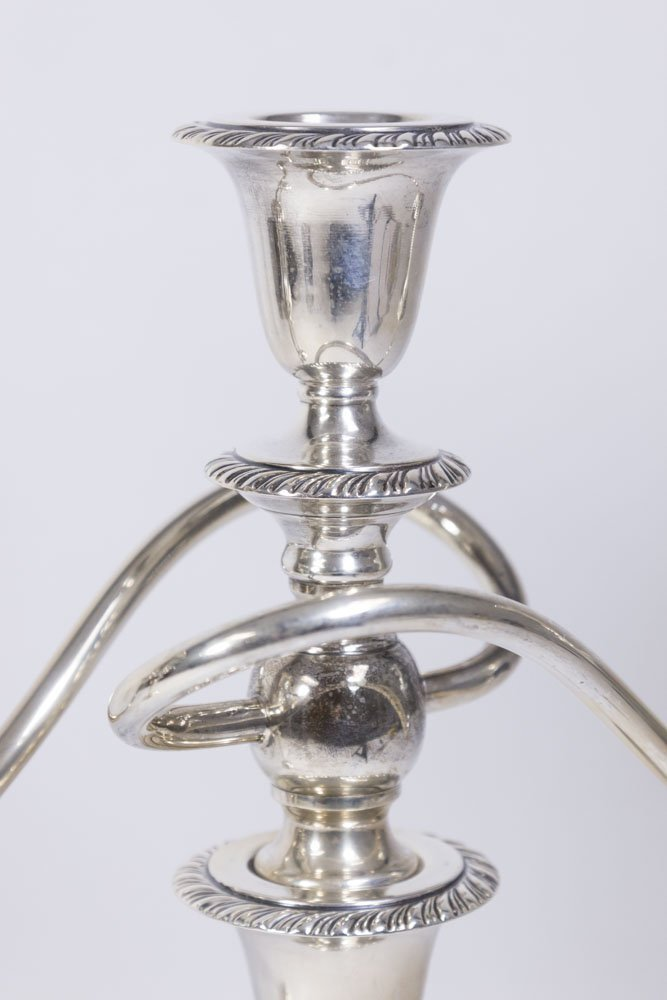 Pair Weighted Sterling Silver 3-Arm Candelabra - 2