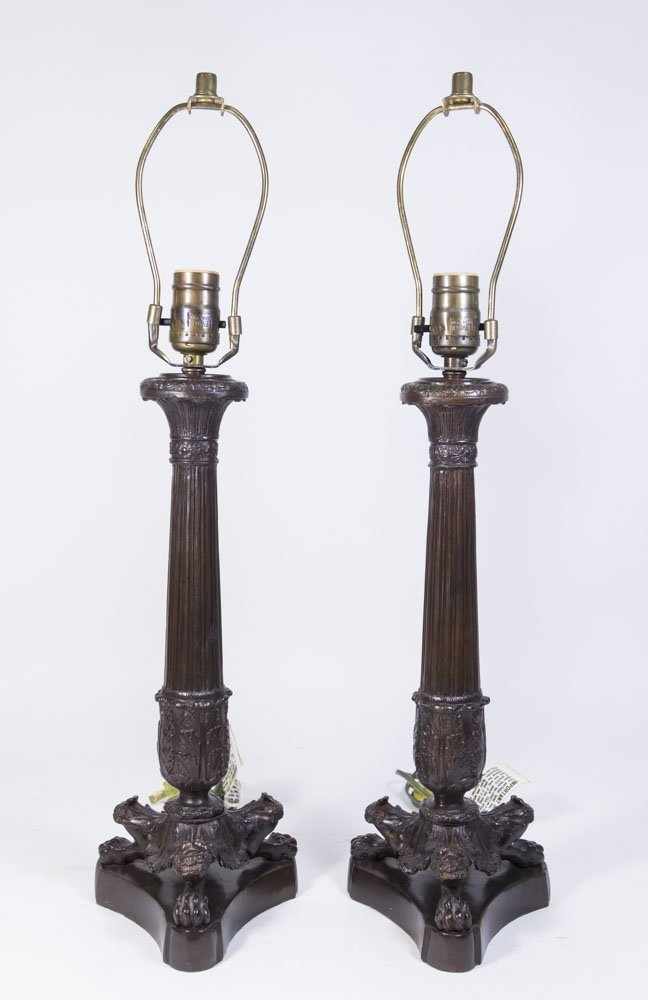 Pair Empire Style Bronze Lamps