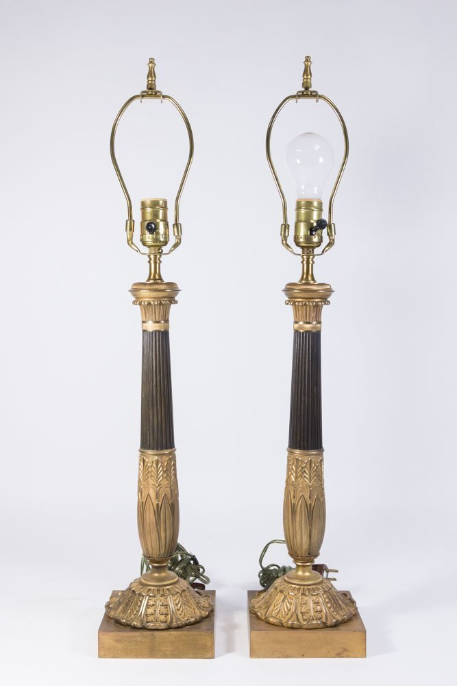 Pair Empire Style Ormolu & Patinated Lamps