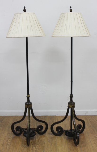 Pair Regency Gilt Decorated Lacquered Pole Lamps