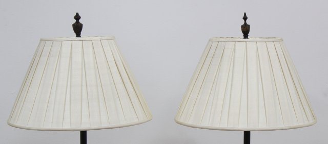Pair Regency Gilt Decorated Lacquered Pole Lamps - 3