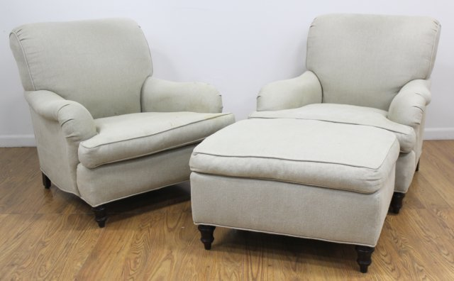 Pair George Smith Style Club Chairs & Ottoman