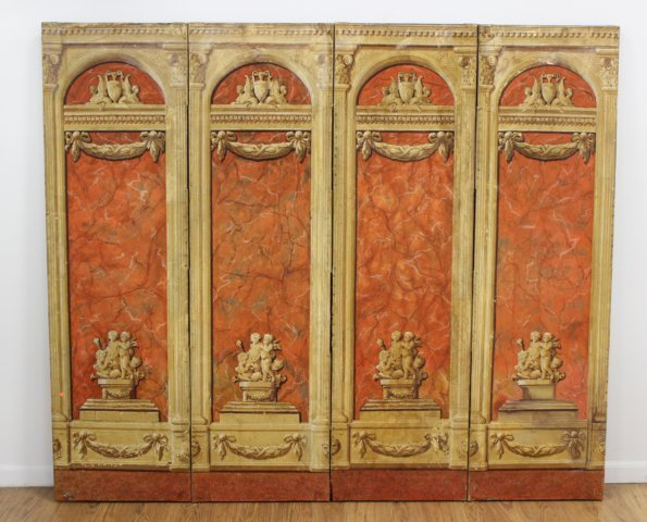 Continental Neoclassic Style 4-Panel Screen