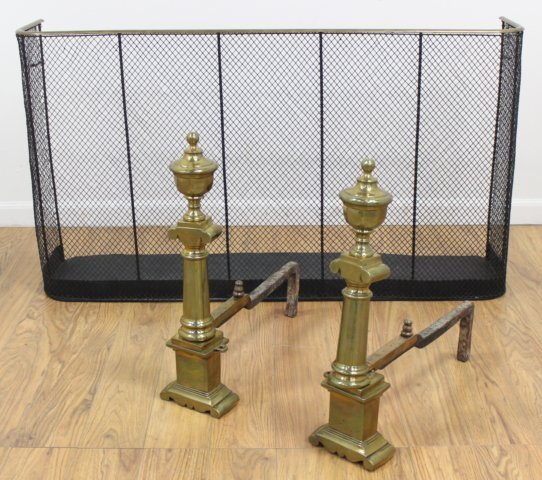 Pair Georgian Brass Andirons & Firescreen