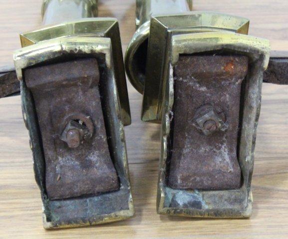 Pair Georgian Brass Andirons & Firescreen - 4