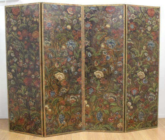 Baroque Style Polychromed Leather 4-Panel Screen