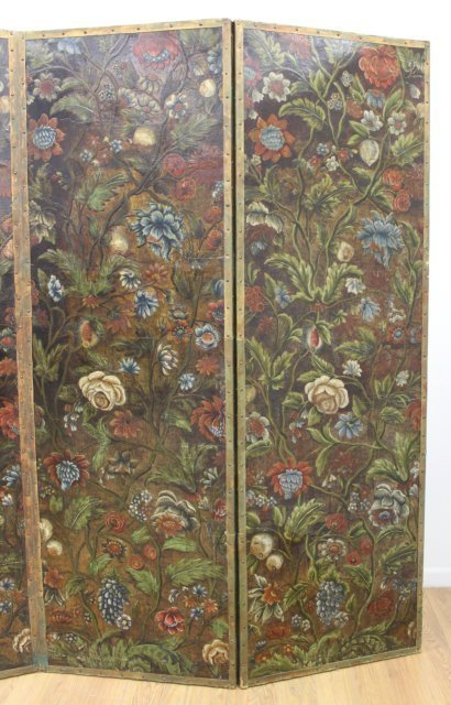 Baroque Style Polychromed Leather 4-Panel Screen - 2