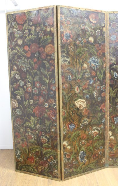Baroque Style Polychromed Leather 4-Panel Screen - 3