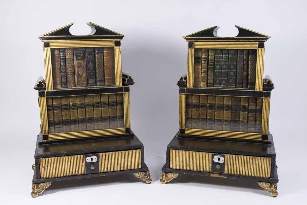 Pair Regency Miniature Bookcase/Lap Desk