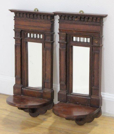 Pair Continental Neoclassic Style Walnut Mirrors