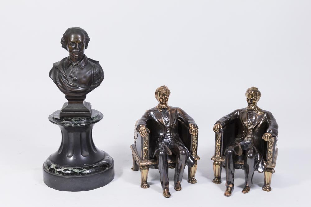 Bronze Bust of Shakespeare & Pair Lincoln Bookends