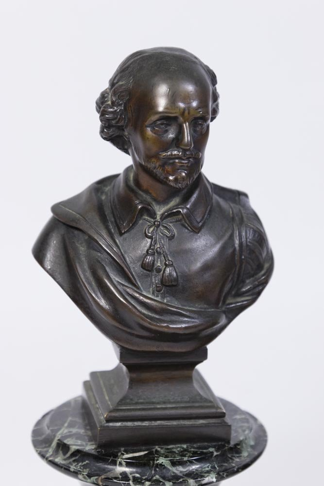 Bronze Bust of Shakespeare & Pair Lincoln Bookends - 2