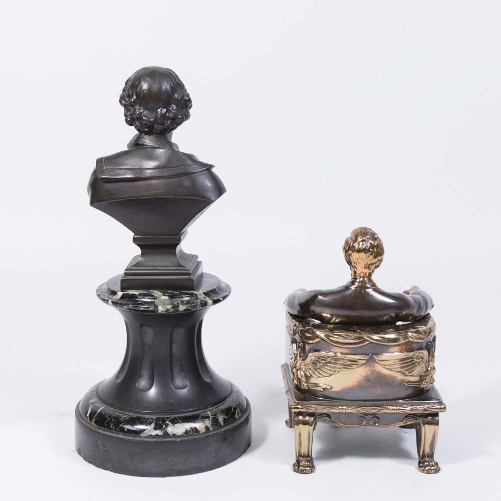 Bronze Bust of Shakespeare & Pair Lincoln Bookends - 4