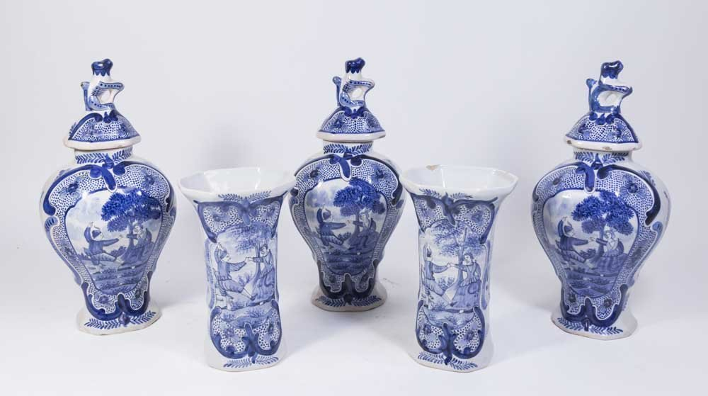 Suite of 5 Delft Covered Urns & Vases