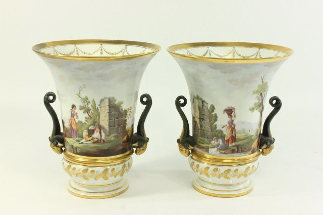 Pair Continental Gilt Porcelain Jardinieres