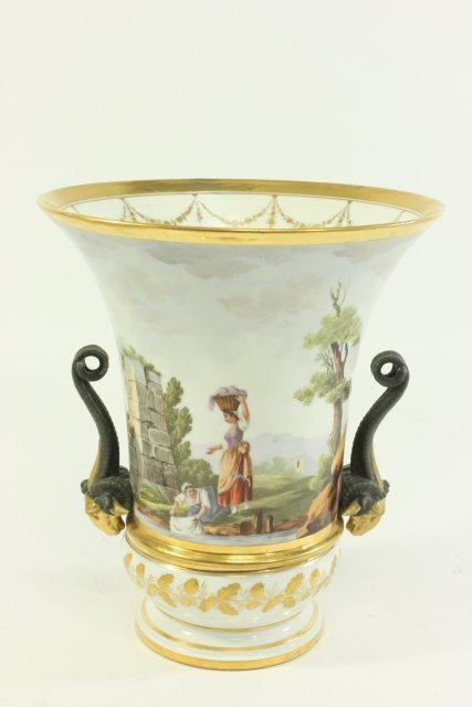 Pair Continental Gilt Porcelain Jardinieres - 4
