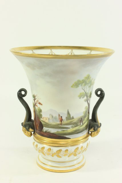 Pair Continental Gilt Porcelain Jardinieres - 5
