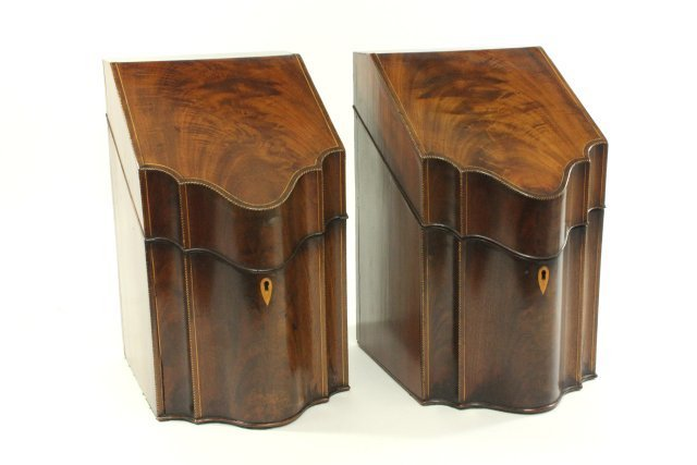 Pair Federal Inlaid Mahogany Knife Boxes